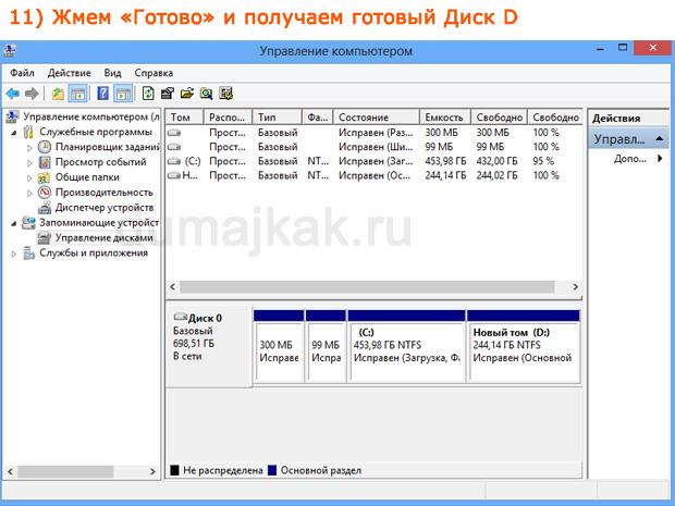 разбить жесткий диск Windows 8